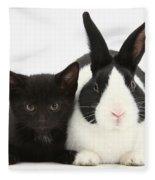 Black Kitten Dutch Rabbit Fleece Blanket