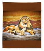 Black Maned Lion And Cub Fleece Blanket