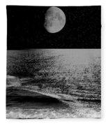 Black Night At The Shore Fleece Blanket