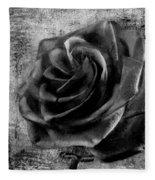 Black Rose Eternal  Bw Fleece Blanket