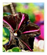 Black Spider Petunia Fleece Blanket