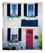 Black Window Shutters With Flowers Fleece Blanket
