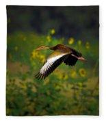 Blackbellied Whistling Duck In Flight Fleece Blanket