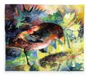 Blackbird With Sunflower Fleece Blanket