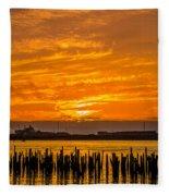 Blazing Humboldt Bay Sunset Fleece Blanket