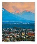 Bled City And Breg. Slovenia Fleece Blanket