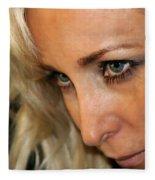 Blond Woman Strict Fleece Blanket