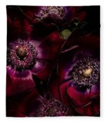 Blood Red Anemones Fleece Blanket