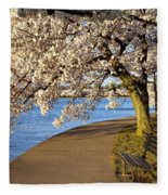 Blossoming Cherry Trees Fleece Blanket