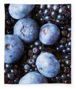Blue And Black Berries Fleece Blanket