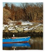 Blue And Red Boat Fleece Blanket