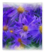 Blue Asters - Watercolor Fleece Blanket