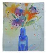 Blue Bottle Bouquet Fleece Blanket