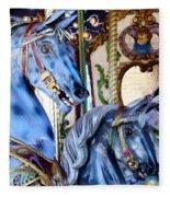Blue Carousel Merry Go Round Horses Fleece Blanket