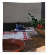 Blue Cup At Christmas  Fleece Blanket