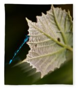 Blue Damsel On Leaf Fleece Blanket