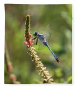 Blue Dragonfly On Pink Flower Fleece Blanket