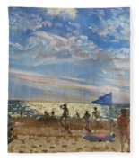 Blue Flag And Red Sun Shade Fleece Blanket