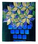 Blue Flower Pot Fleece Blanket