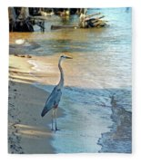 Blue Heron On The Beach Fleece Blanket