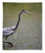 Blue Heron On The Hunt  Fleece Blanket