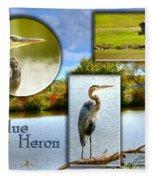 Blue Heron Pose Fleece Blanket