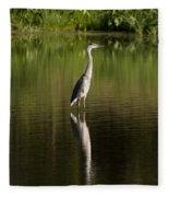 Blue Heron Reflection Fleece Blanket