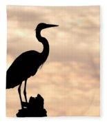 Blue Heron Silhouette Fleece Blanket