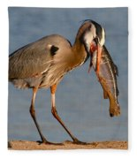 Blue Heron Vs. Rainbow Trout Fleece Blanket