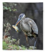 Blue Heron With Fish Fleece Blanket