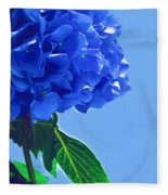 Blue Hortensia Hydrangea Fleece Blanket