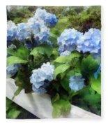 Blue Hydrangea On White Fence Fleece Blanket