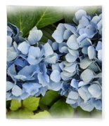 Blue Hydrangeas With Watercolor Effect Fleece Blanket