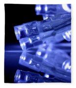 Blue Led Lights Closeup With Reflection Fleece Blanket