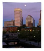 Blue Moon Over Downtown Providence 2 Fleece Blanket