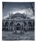 Blue Mosque Courtyard Fleece Blanket