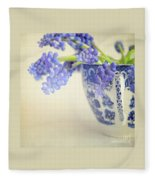 Blue Muscari Flowers In Blue And White China Cup Fleece Blanket