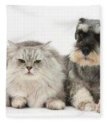 Blue-point Kitten & Miniature Schnauzer Fleece Blanket