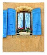 Blue Shutters In Provence Fleece Blanket