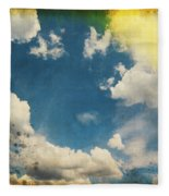 Blue Sky On Old Grunge Paper Fleece Blanket