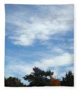 Blue Sky White Clouds Autumn Prints Fleece Blanket