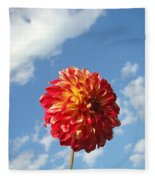 Blue Sky White Clouds Floral Art Prints Dahlia Flowers Fleece Blanket