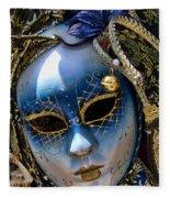 Blue Venetian Mask Fleece Blanket
