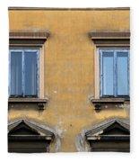 Blue Windows On A Yellow Wall In Milan Fleece Blanket
