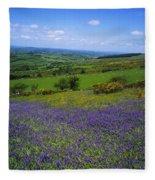 Bluebell Flowers On A Landscape, County Fleece Blanket