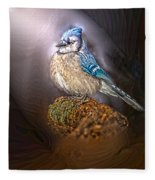Bluejay In Spotlight Fleece Blanket