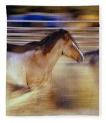Blurred View Of Horses Running Through Fleece Blanket