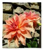 Blushing Peach Dahlias Fleece Blanket