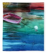 Boat And The Buoy Fleece Blanket