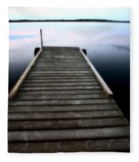 Boat Dock At Smallfish Lake In Scenic Saskatchewan Fleece Blanket